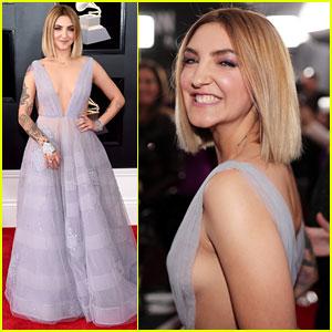 Julia Michaels Wears Lavender Butterfly Dress at Grammys 2018