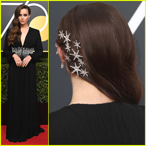 Katherine Langford Wears Stars in Her Hair For Golden Globes 2018