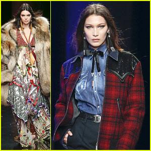 Kendall Jenner & Bella Hadid Walk In Dsquared2 Fashion Show During Milan Fashion Week