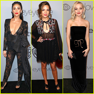 Shay Mitchell Wears a Sheer Lace Jumpsuit to Golden Globes Party!