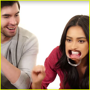 Shay Mitchell Hilariously Plays 'Speak Out' Challenge With German Garmendia (Video)