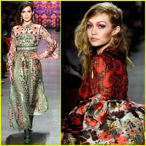 Bella & Gigi Hadid Go Bright & Bold for Anna Sui Fashion Show!