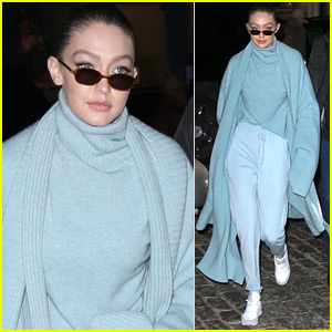 Gigi Hadid Goes Pretty in Powder Blue in NYC