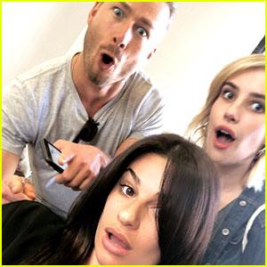 Lea Michele Has 'Scream Queens' Reunion at Hair Salon