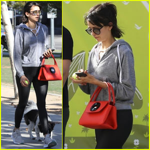 Nina Dobrev Takes Her Pup on a Weekend Walk!