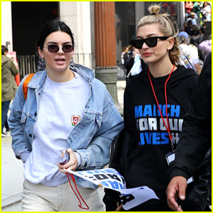 Kendall Jenner & Hailey Baldwin Attend March For Our Lives LA