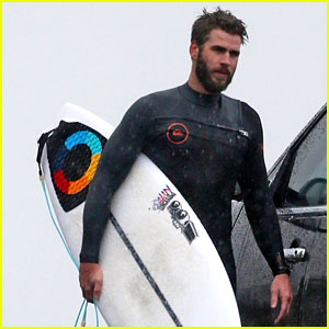 Liam Hemsworth Shows Off His Wetsuit Bod on a Rainy Day in Malibu!