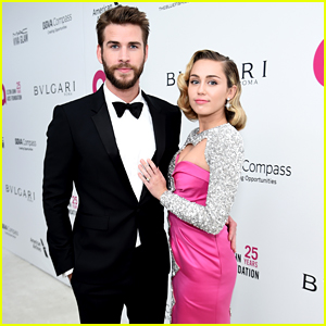 Miley Cyrus & Liam Hemsworth Couple Up For EJAF's Oscar Viewing Party