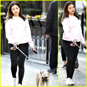 Sarah Jeffery Walks Adorable Pup Monty Ahead of 'Charmed' Filming
