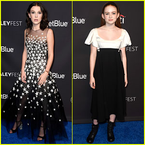 Millie Bobby Brown & Sadie Sink Glam Up for 'Stranger Things' PaleyFest Panel