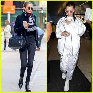 b9e7d1ec1da Gigi Hadid Looks Sleek in All Black While Bella Hadid Keeps It Chic in White