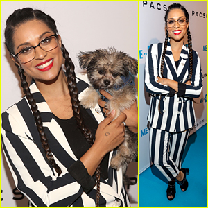 Lilly Singh Brings New Dog Scarbo To WE Day Party With A Purpose