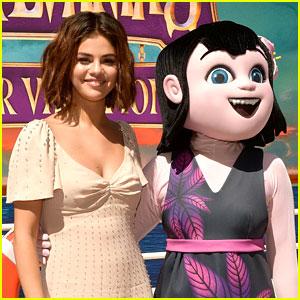 Selena Gomez Poses with 'Hotel Transylvania' Character at Photo Call
