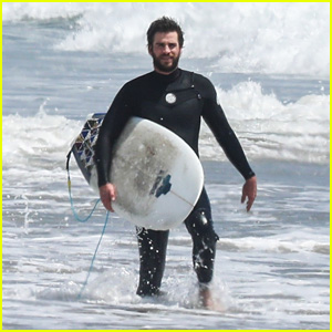 Liam Hemsworth Rides Waves at the Beach in Malibu!