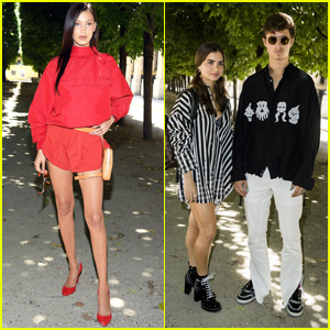 Bella Hadid & Ansel Elgort Look Fashionable at Louis Vuitton Show in France
