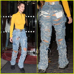 Bella Hadid Rocks Revealing Pair of Blue Jeans While Out in Paris!