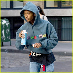Jaden Smith Sips on His Water While Skateboarding in NYC