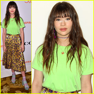 Malina Weissman Wears Bright Green & Gold To Step Up Inspiration Awards 2018