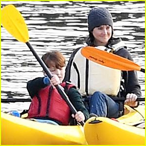 Shailene Woodley & Iain Armitage Paddle a Canoe for 'Big Little Lies'