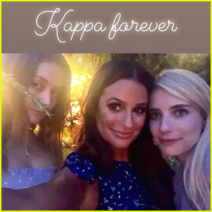 'Scream Queens' Emma Roberts & Billie Lourd Reunite with Lea Michele at Her Engagement Party