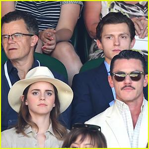 Emma Watson & Luke Evans Meet Up with Tom Holland at Wimbledon!