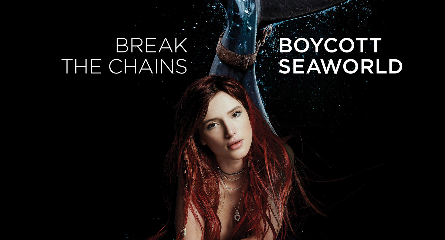 Bella Thorne Is a Chained Mermaid in PETA Ad