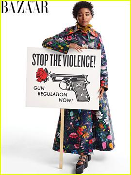 Amandla Stenberg Holds a Sign for Gun Control in 'Harper's Bazaar'