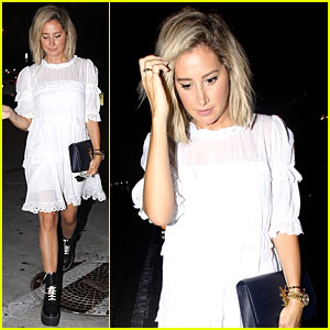 Ashley Tisdale Rocks Combat Boots For Friday Night Out