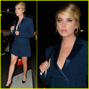 Ashley Benson Dons Chic Blazer Dress While Stepping Out During Paris Fashion Week