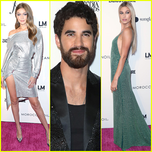 Host Darren Criss Joins Gigi Hadid & Hailey Baldwin at Fashion Media Awards!