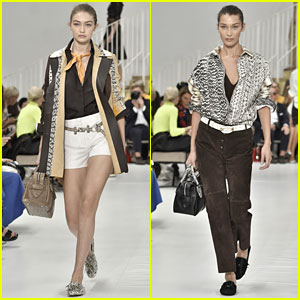 Gigi Hadid & Sister Bella Don Snakeskin-Inspired Looks in Tod's Fashion Show