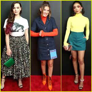 Katherine Langford, Millie Bobby Brown, & Rowan Blanchard Hang Out at Calvin Klein NYFW Show!