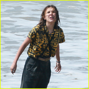 Millie Bobby Brown Films Emotional 'Stranger Things' Scene at the Beach!