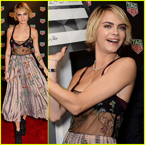 Cara Delevingne Dons Flowing Floral Skirt at TAG Heuer Event
