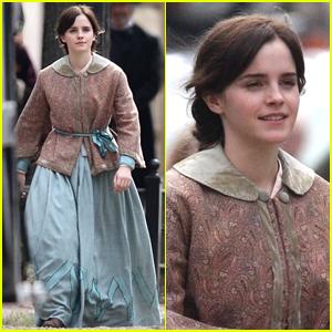 Emma Watson Dons Her Costume on 'Little Women' Set