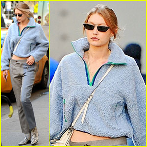 Gigi Hadid Stays Warm in a Fuzzy Blue Sweater While Out in