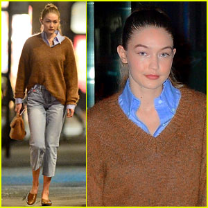 Gigi Hadid Looks Ready for Fall in Fuzzy Brown Sweater
