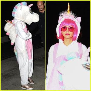 Nina Dobrev Dons Pink Wig & Unicorn Onesie for Halloween Weekend