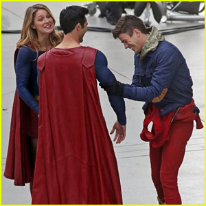 Melissa Benoist, Tyler Hoechlin, & Grant Gustin Share a Laugh on 'Arrowverse' Crossover Set!