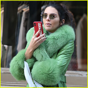 Kendall Jenner Dons Furry Green Coat & Long Nails While Out on Her Birthday!