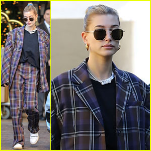 Hailey Bieber Makes Fashion Statement In Plaid Suit