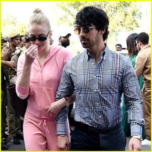 Sophie Turner Rocks Pink Sweatsuit in India Alongside Joe Jonas