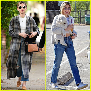 Lucy Hale Looks Chic in Long Checked Coat While Out to Lunch