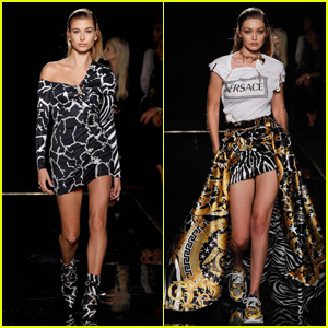 Hailey Bieber & Gigi Hadid Look Fierce on the Versace Runway in New York City