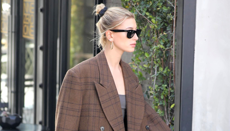 Hailey Bieber Pairs Oversized Blazer With Crop Top & Sweatpants