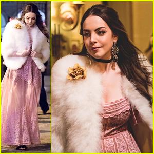 Elizabeth Gillies Films Chic Fashion Scenes For 'Dynasty' in Paris