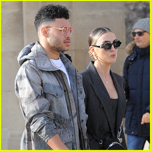 Perrie Edwards & Boyfriend Alex Oxlade-Chamberlain Keep Close While Heading to Off-White Fashion Show in Paris