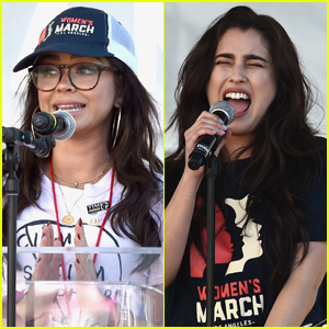 Sarah Hyland & Lauren Jauregui Hit the Stage at the Women's March 2019 in L.A.