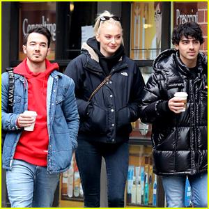 Sophie Turner, Joe Jonas & Kevin Jonas Enjoy a Stroll Through Chilly NYC!