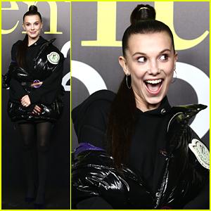 Millie Bobby Brown Has Fashion Fun in Milan at Moncler Show